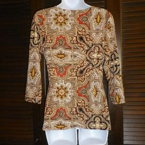 Charter Club Tops - Charter Club Brown Red Paisley V Neck Wrap Top, PM
